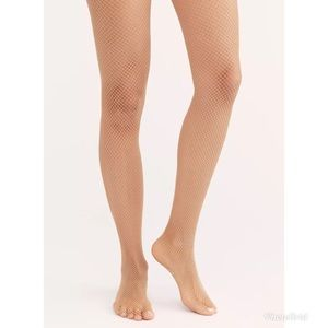 NWT Free People Latte Fishnet Tights OS
